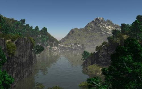 Otro Paisaje de montañas y valles con rio