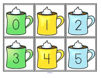FREE This is a set of large flash cards, numbers 0-20, with a hot cocoa/winter theme. Use for a small group, a center, and a patterning activity. 4 pages plus cover and credits.