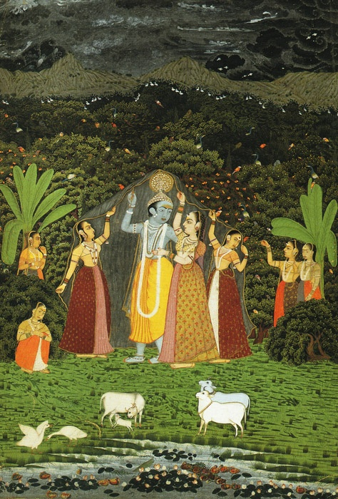 Krishna and the Gopis Take Shelter from the Rain,1760, Mughal Indian miniature.
