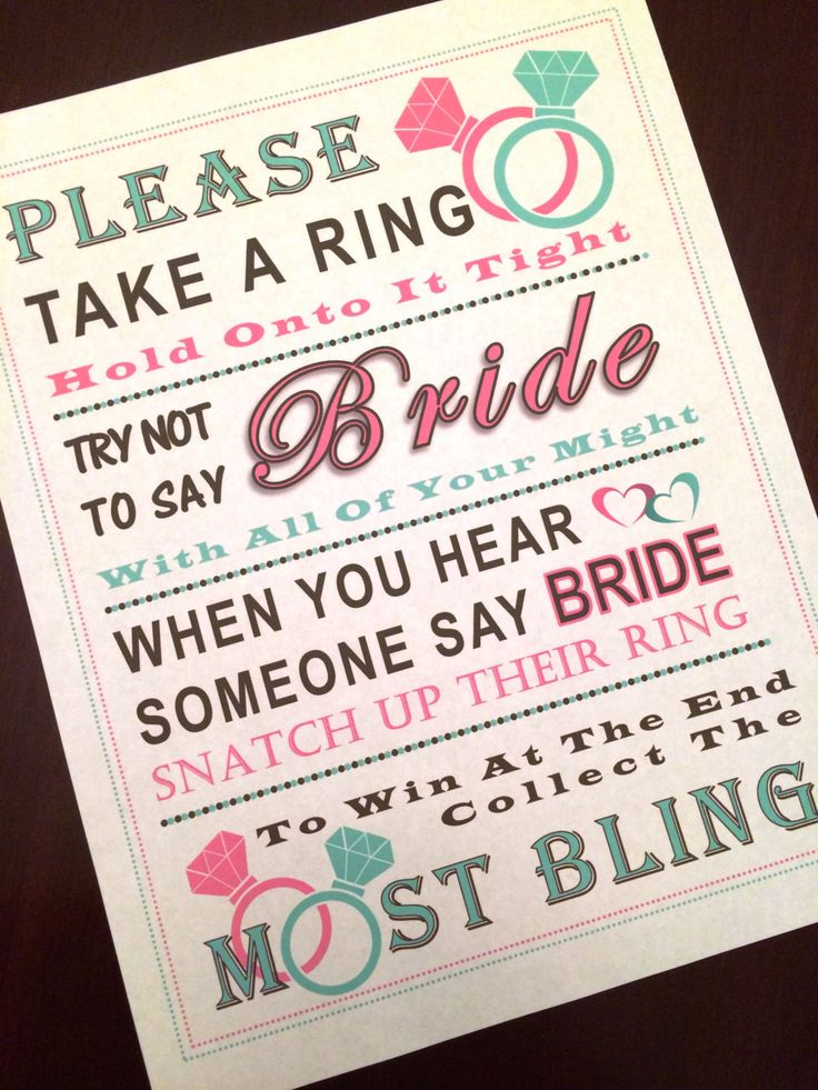 Bridal Shower Game: Dont Say Bride MINT & by PinkFlamingoParties