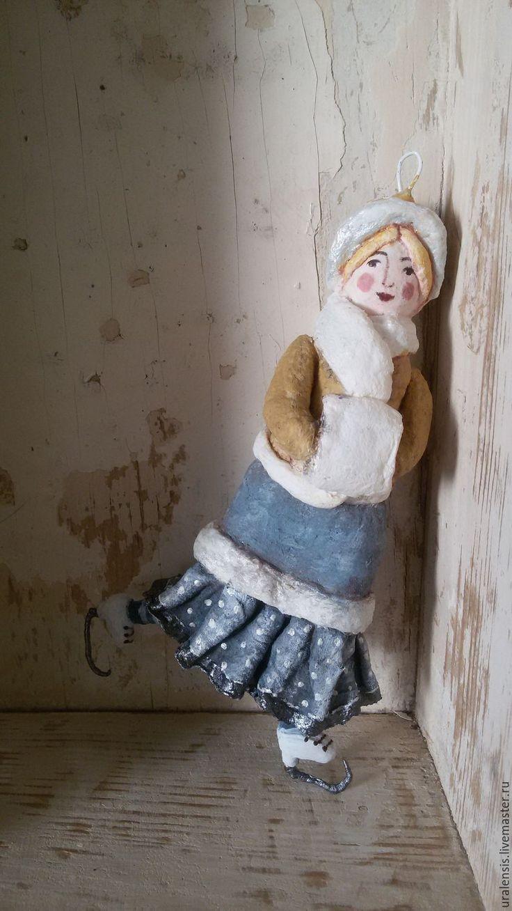 Купить Снежная королева, ватная ёлочная игрушка - комбинированный, ватная игрушка, игрушка из ваты
