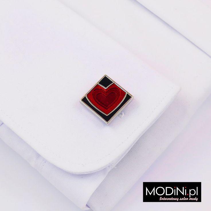 Kwadratowe spinki do mankietów - czerwone serce - https://modini.pl/28-spinki-do-mankietow