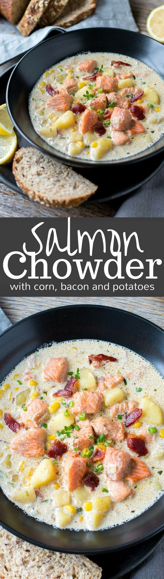 Salmon Chowder with potatoes, bacon and corn - an incredible soup that's richly satisfying, hearty, surprisingly filling and not at all fishy! http://www.savingdessert.com