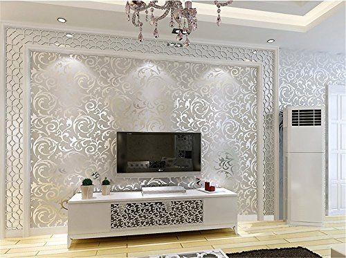Ufengke® Moderne Simple Vliesstoff Beflockung Bronzing 3D Kurve Muster  Tapeten Wandbild Für Wohnzimmer Schlafzimmer TV