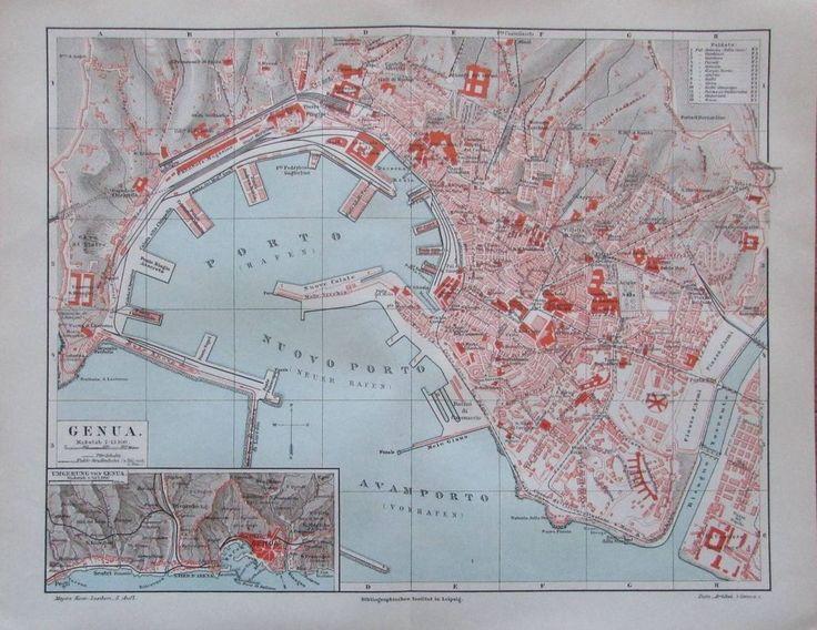 1897 Genua - alte Stadtplan Karte Italien old city map