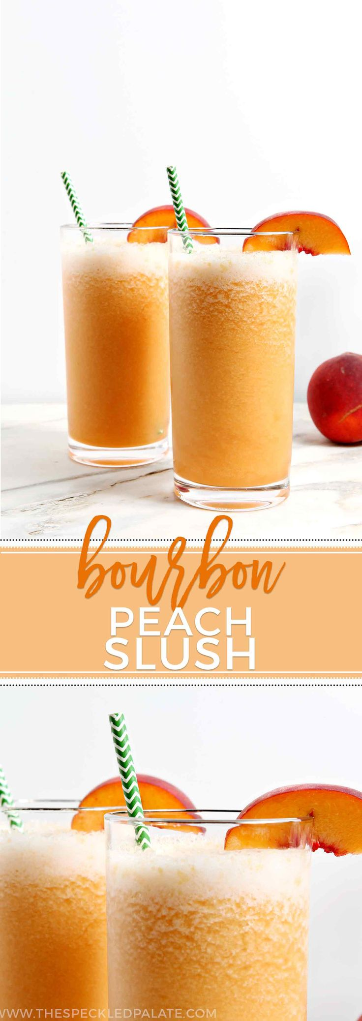 Celebrate peach season with a refreshing Bourbon Peach Slush. Simple to make and easier to sip, this frozen cocktail is perfect for an end-of-summer party. #recipe #cocktail #bourbon via @speckledpalate