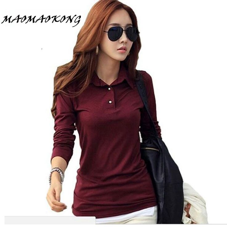 Spring Autumn Casual Polo Women 2017 New Long Sleeve Slim Polos Mujer Black White Red Tops Plus Size Lady Polo Shirt Femme