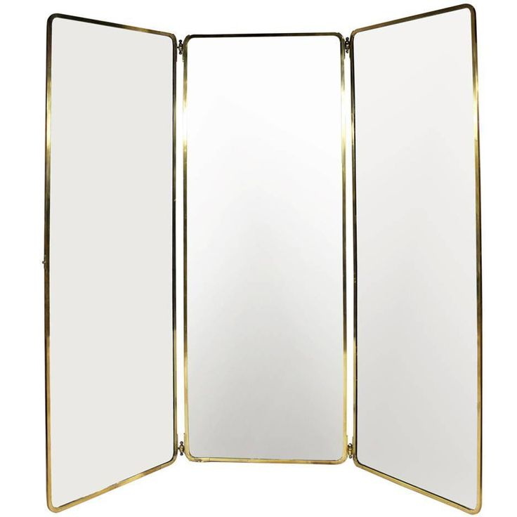1930s Full Length Brass Folding Mirror | From a unique collection of antique and modern floor mirrors and full-length mirrors at https://www.1stdibs.com/furniture/mirrors/floor-mirrors-full-length-mirrors/