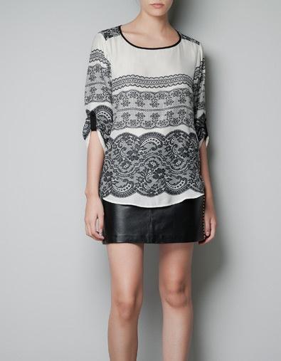 PRINTED LACE BLOUSE - Shirts - Woman - ZARA United States
