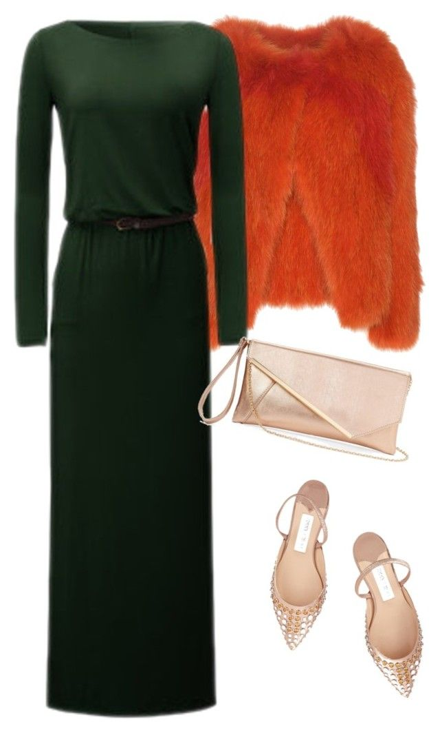 """Orange & green & beige"" by slavka-cesnek on Polyvore featuring Vanessa Bruno, Jimmy Choo and Gunne Sax By Jessica McClintock"