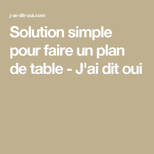 Solution simple pour faire un plan de table - J'ai dit oui