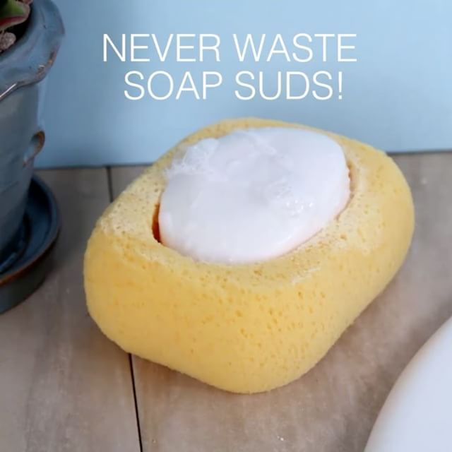 DIY sponge soap holder! ✅  Credit : @buzzfeednifty  Try to comment your name letter by letter without being interrupted! I bet you can't!