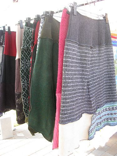 upcycled sweater skirts!