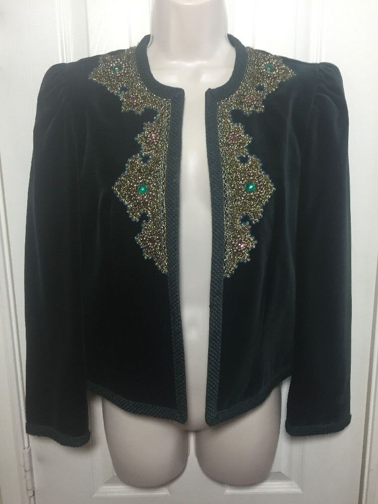 Vtg ESCADA SRB Germany Velvet Blazer Jacket Jeweled Beaded Green Gold SZ 38…