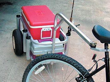 Bike fishing rod carrier photos fish n mate products for Surf fishing cart
