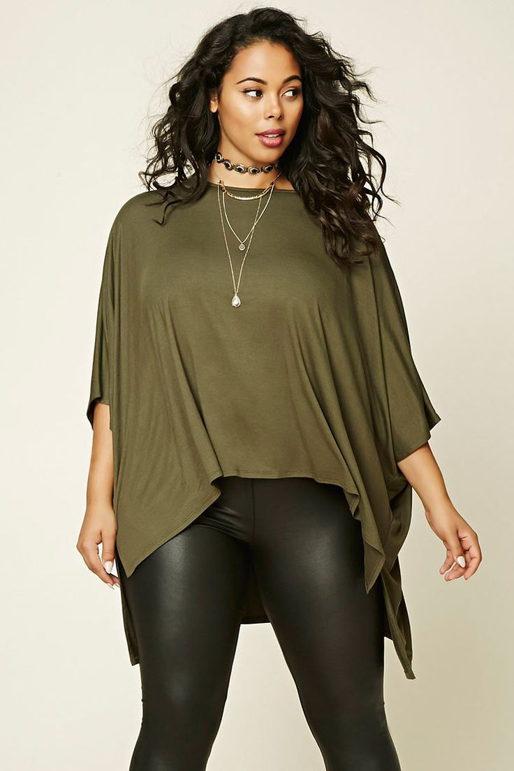 Forever 21+ - A knit top featuring a round neckline, 3/4 sleeves, a high-low hem, and a billowy silhouette