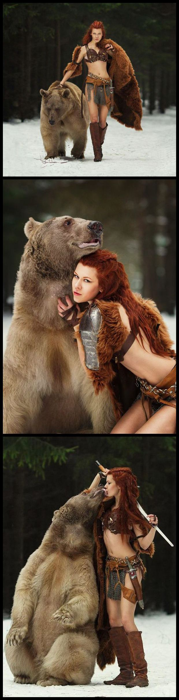 Holy crap-my-pants! That's a real bear! And she is very considerately wearing a faux fur throw,,,