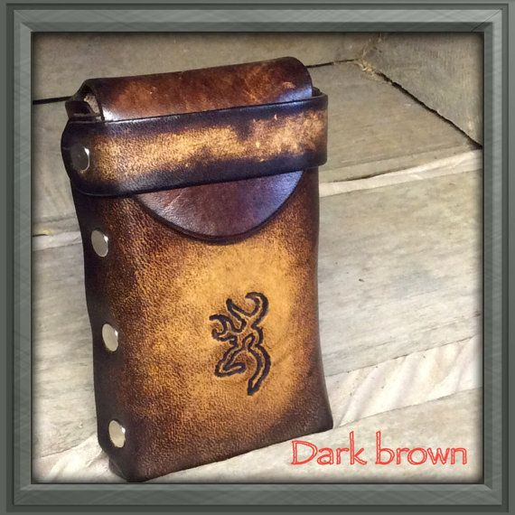 Genuine Leather Cigarette Case with deer head. Hand-made with genuine cowhide all the way through.  Great gift idea and will last a lifetime