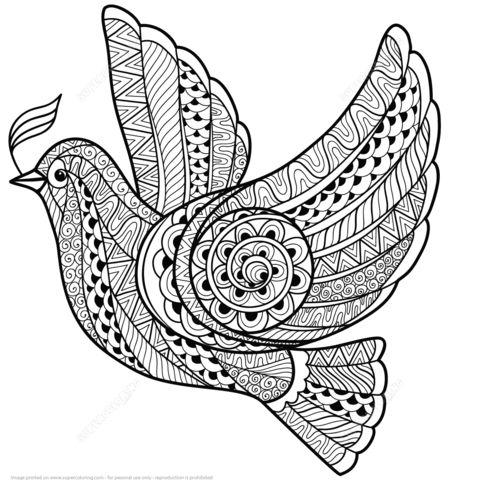 Paloma de la Paz Zentangle Dibujo para colorear                              …