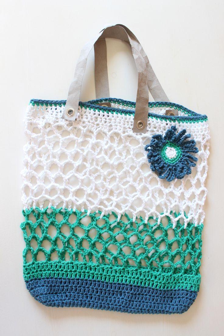 Einkaufstasche, Häkelnetz, mit Anleitung, mit Blume, mit Henkeln aus SnapPap