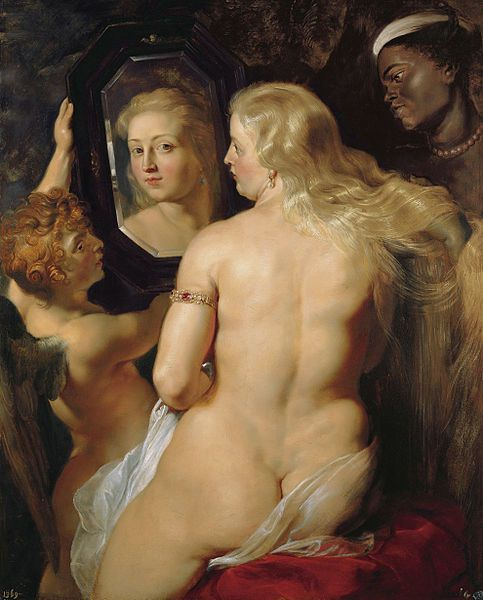 Venus at her Mirror by Peter Paul Rubens (1614)  Rubens (1577-1640) flourished in the Baroque period as a master painter from Flanders. His extensive travels and studies brought many different subjects to his paintings. The lovely Venus is an example of Rubenesque, a term coined due to the wonderfully fleshy bodies of his subjects.