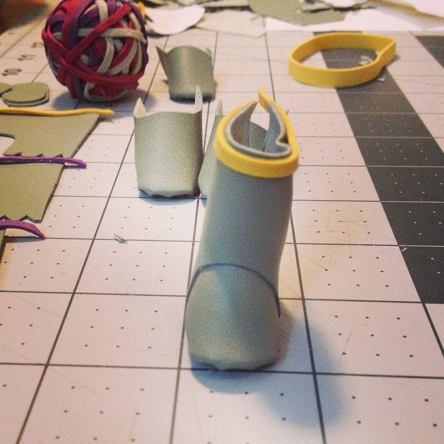 in progress · tiny rain boot with elastic band trim