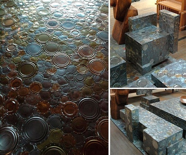 Tin Can Lid Floor. This would be so cool in a garage. http://theshiftisnow.posterous.com/making-cash-from-trash-the-recycled-art-of-cl