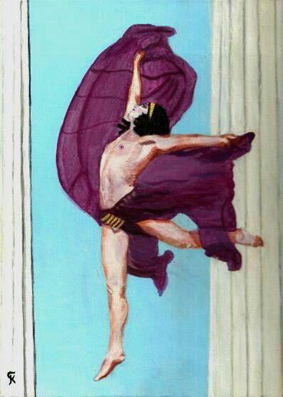 """Kostas Giannopoulos (1975-), """"Nikolska in Parthenon"""", acrylic on panel canvas."""