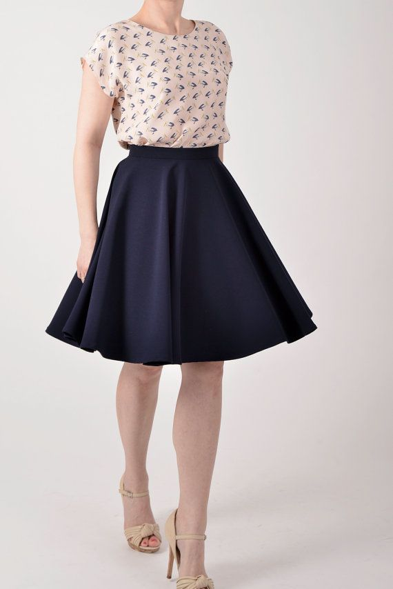 Circle skirt with short sleeved blouse