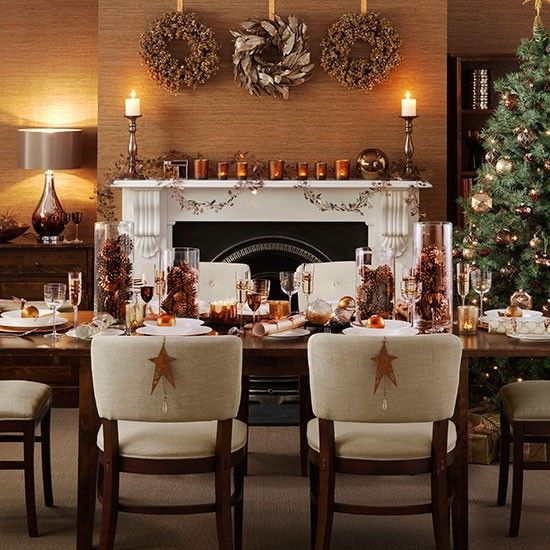 Christmas dining room with copper accessories