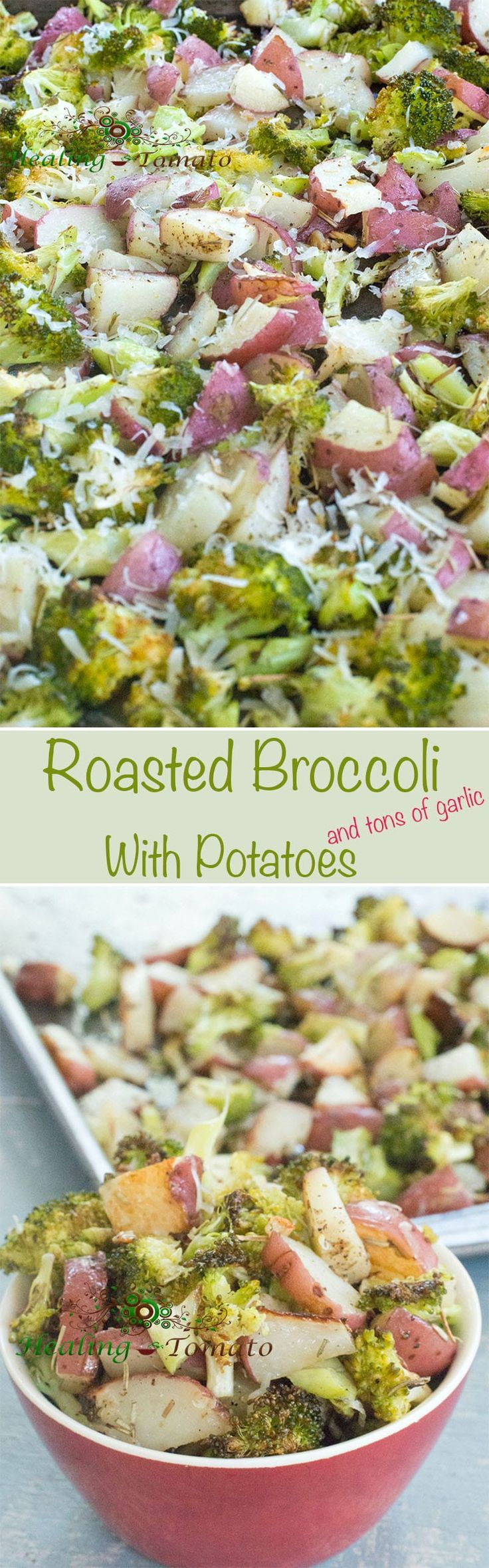 Sheet Pan Roasted Broccoli and Potatoes are a very simple combo of healthy comfort food. Seasoned to perfection with garlic, oregano, parsley, thyme and pepper, this is destined to become a favorite side dish at your dinner table.