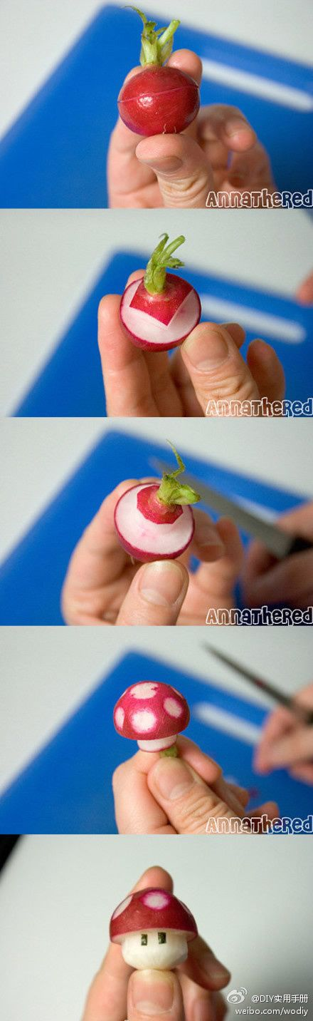 Mushroom from a Radish - with link to the ORIGINAL bloggers post. =) To see more cute stuff visit http://whykawaii.com!