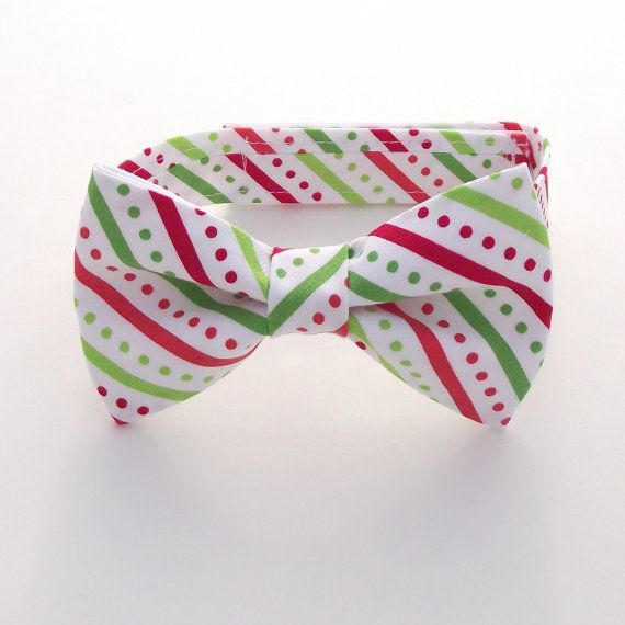 Christmas Bow Tie, Green and Red Bow Tie, Striped Bow Tie, Bias Stripe, Diagonal Stripe, Ring Bearer, Lime, Bright, White, Polka Dots