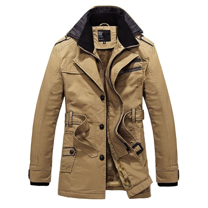 2013 Winter New  Men's Thick Trench coat  With Fluff Windproof Out Door Jacket Super Warm Plus size M-XXXL drop shipping MWF044 $119.00
