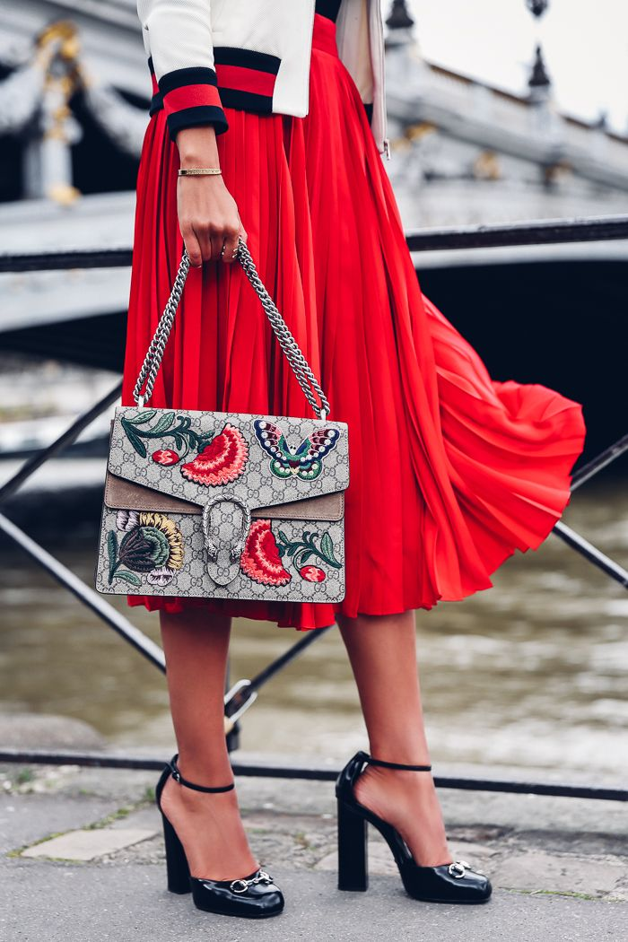 PARIS FASHION WEEK | gucci bag | gucci shoes | red pleated skirt | viva luxury fashion blog