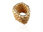 Natural Wooden Bead Cuff natural colour woven together with a stretch elastic cotton. On sale at Sweet Sweet Silver