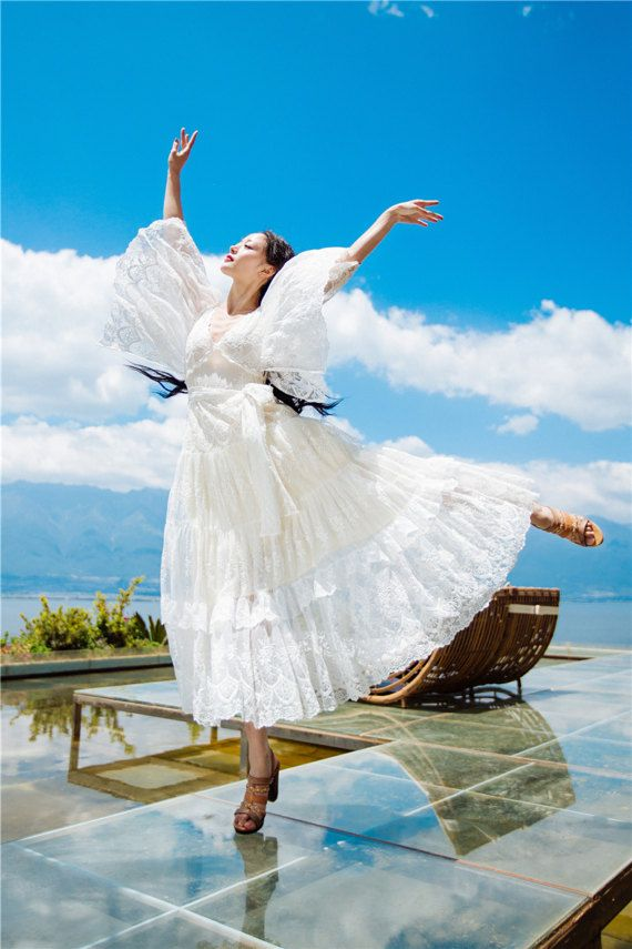 Female V-neck Long Maxi Hollow Women Summer Dress Robe Gown Vestido Mori Girl White Fairy Ropa dress  Courte Tunic Boho Clothing