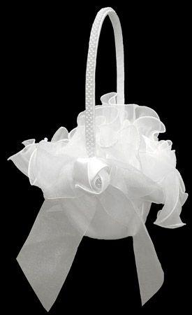 Flower Girl Basket 0051 (White or Ivory)
