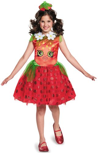 This costume includes a red dress, and strawberry top headband. Does not include shoes. This is an officially licensed Shopkins costume.