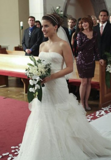 "When Brooke Davis (Sophia Bush) married Julian Baker (Austin Nichols) on ""One Tree Hill,"" she looked radiant. Although Bush had married costar Chad Michael Murray a few years before in Vera Wang, Davis opted for a strapless tulle and lace mermaid wedding dress by BCBG. Who knew BCBG could do bridal?"