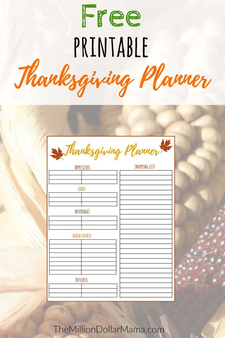 Free Printable Thanksgiving Menu Planner | Free Thanksgiving Printable | Thanksgiving Meal Planner | Thanksgiving Menu Planner | How to save money on Thanksgiving
