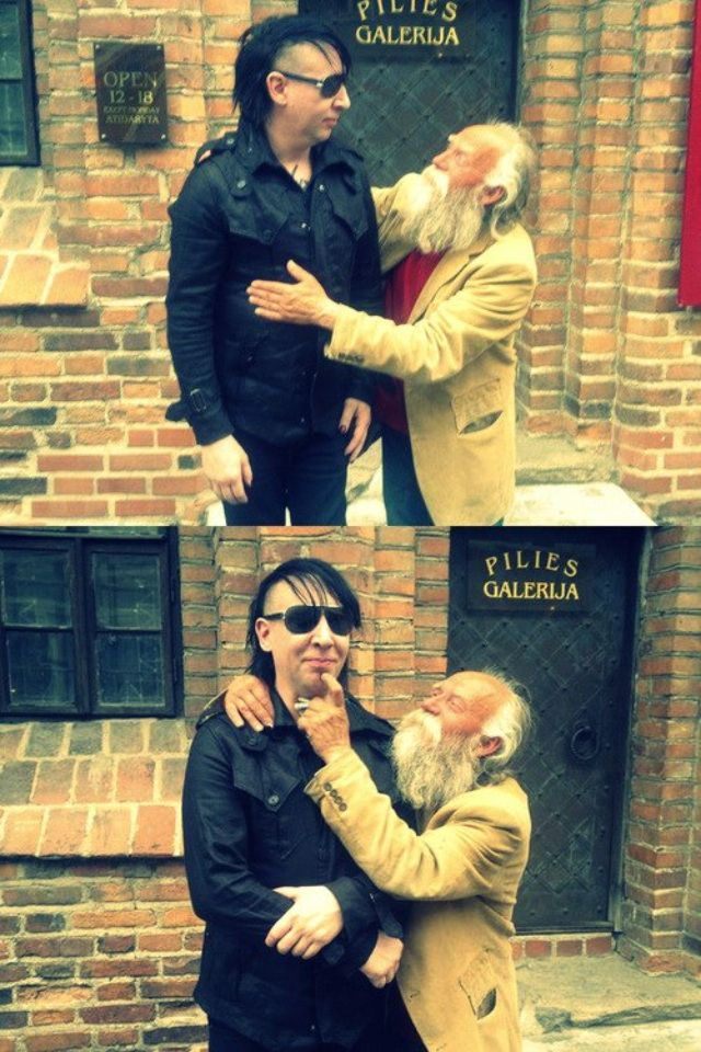 A hobo in Lithuania found Manson. This is so adorable! That fact that he stood there and didn't brush this poor man off, or treated him less than a person due to his status tells you a lot about him. I freaking love this man!