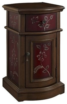 Small Classic Exquisite Hand Painted Red Chairside Storage Cabinet Table Drawer contemporary-accent-chests-and-cabinets