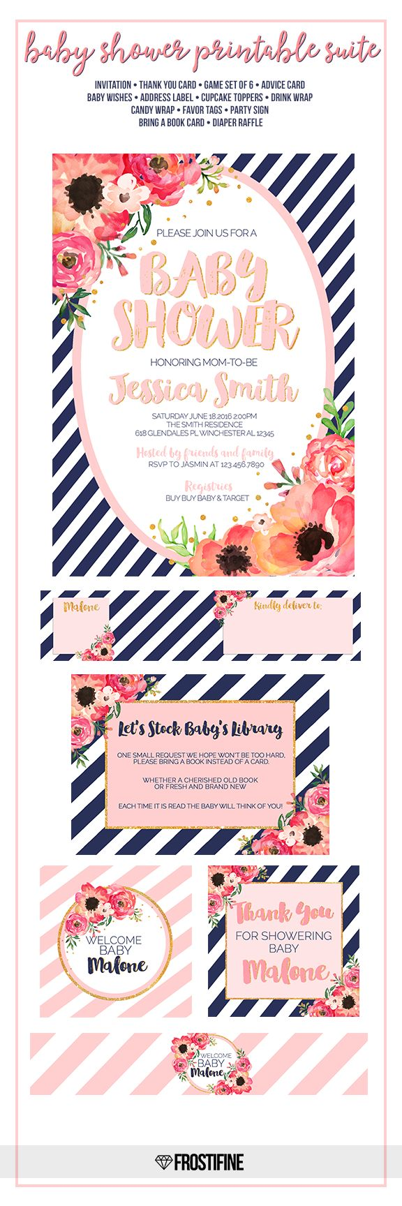 Navy blue and coral blush pink baby shower all-in-one suite with stripes,watercolor flowers and golden glitter details. Perfect baby shower set to invite and entertain your guests to most amazing party of the year. This kit includes Invitation and backer design, advice card, Baby wishes card, Game card set of 6, address labels, cupcake toppers, drink wrap labels, candy wraps, favor tags, party sign, thank you card, bring a book card, diaper raffle. This set is personalized with your party…