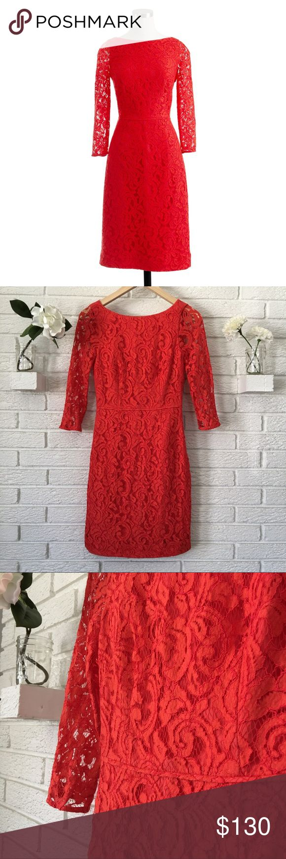 J.Crew Natalia Dress in Leavers Lace Poppy Red Amazing J. Crew Natalia dress. Poppy Red color in Leavers lace. Perfect for bridesmaid dress or for Summer weddings! Fully lined, besides 3/4 sleeves. Great condition! J. Crew Dresses