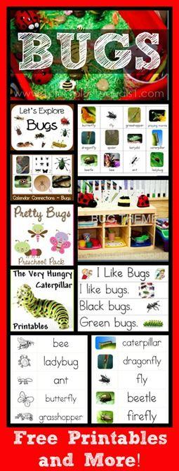Bug Theme Collection ~ Printables, Sensory Bin, Calendar Connections, & More! #bugs #learning #kids