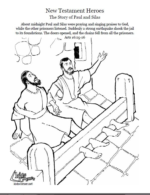 Paul and Silas: coloring page, audio Bible story and script available at http://kidscorner.reframemedia.com/bible/stories/the-story-of-paul-and-silas/