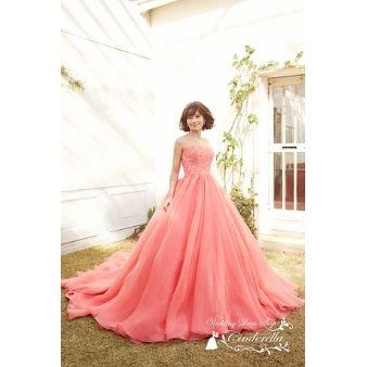 ウェディングドレスショップ シンデレラ:キャンディーピンクのエアリーカラードレス♪CLS9590CP