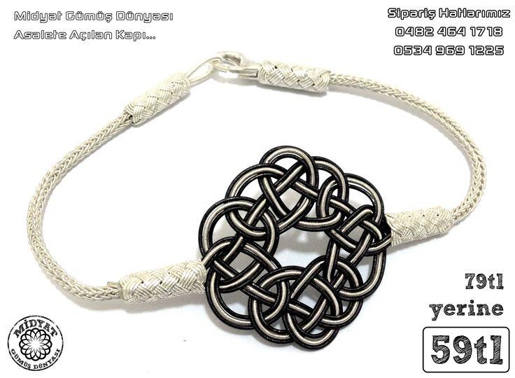 Siyah Beyaz 1000 Ayar Kazaz El Örmesi Gümüş Bay-Bayan Bileklik 59tl «Midyat Gümüş Dünyası - Gümüş takının değişmeyen adresi