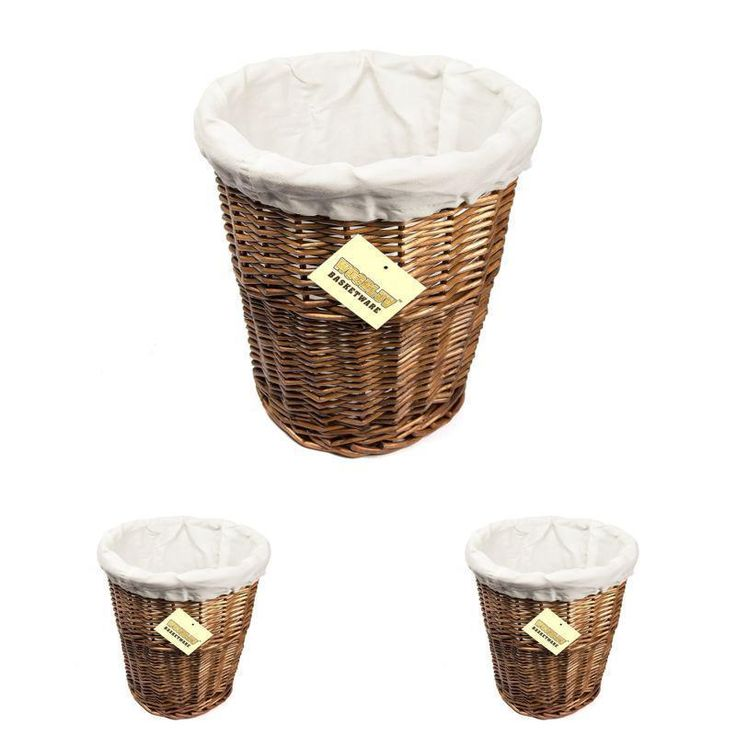 Round Wicker Waste Paper Bin with Cloth Lining Brown White